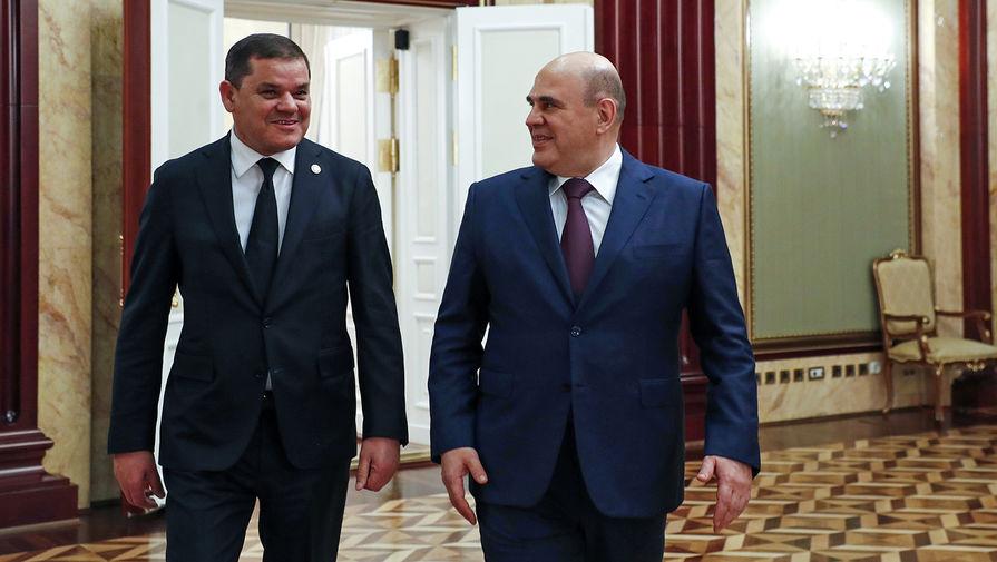 Председатель правительства России Михаил Мишустин и премьер-министр Ливии Абдель Хамид Дбейба во время встречи, 15 апреля 2021 года