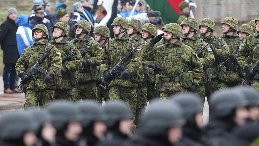 Эстонские военные на параде в честь дня независимости Эстонии, 24 февраля 2015 года