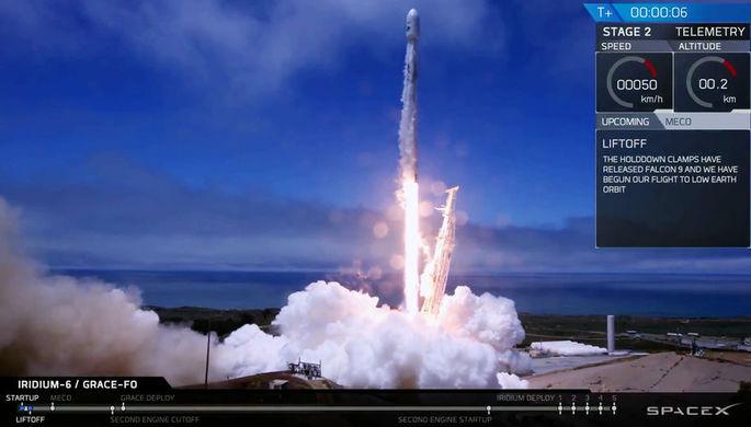 Первые секунды после запуска ракеты Falcon 9, 22 мая 2018 года