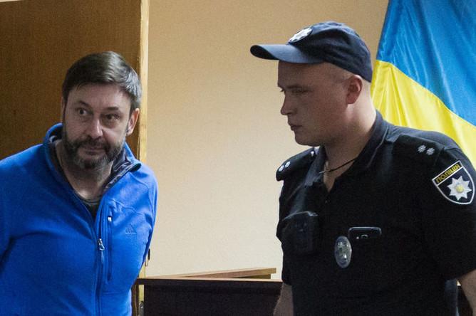 Руководитель портала «РИА Новости Украина» Кирилл Вышинский на заседании Подольского районного суда Киева, 15 июля 2019 года