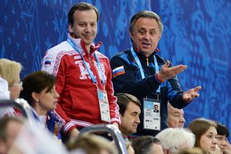 Виталий Мутко и Аркадий Дворкович (слева) вместе болеют за сборную России