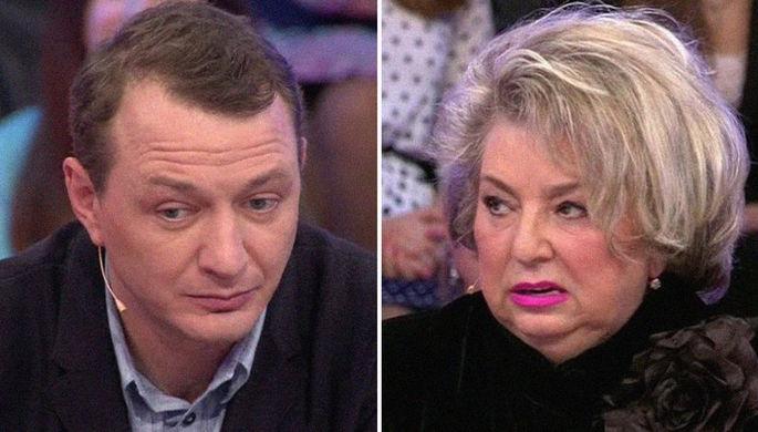Марат Башаров и Татьяна Тарасова в передаче «Сегодня вечером» в 2014 году, коллаж