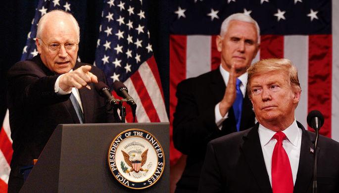 Бывший вице-президент США Дик Чейни, президент Дональд Трамп и действующий вице-президент Майк Пенс, коллаж «Газеты.Ru»