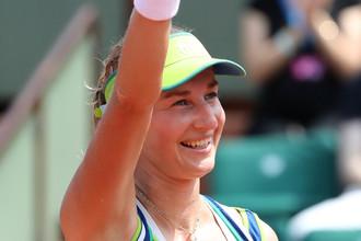 Россиянка Екатерина Макарова празднует победу над Анжеликой Кербер в первом круге «Ролан Гаррос»