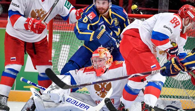 Андрей Василевский в матче Россия — Швеция в рамках Еврохоккейтура