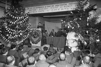 Новогоднее собрание бойцов и командиров Панфиловской дивизии, 31 декабря 1941 года