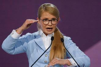 Лидер украинской партии «Батькивщина» Юлия Тимошенко во время форума в Киеве, июнь 2018 года