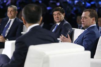 Председатель правительства РФ Дмитрий Медведев на пленарной сессии форума «Цифровая повестка в эпоху глобализации 2.0. Инновационная экосистема Евразии» в Алма-Ате, 1 февраля 2019 года