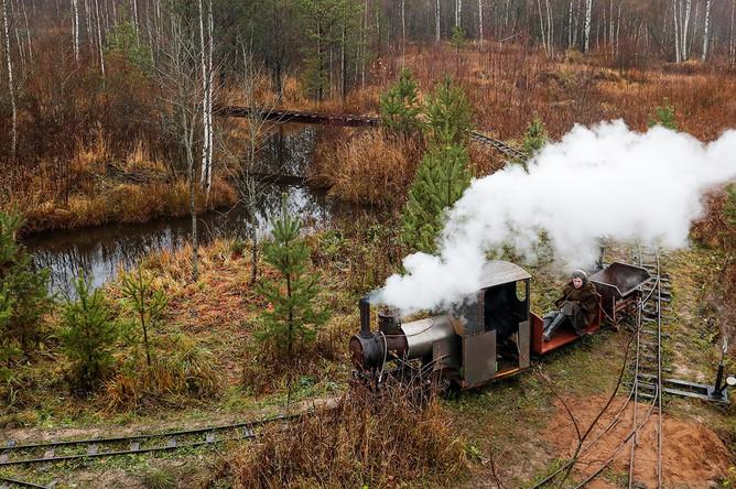 Инженер Павел Чилин с самодельным локомотивом в деревне Ульяновка в Ленинградской области, 4 ноября 2019 года