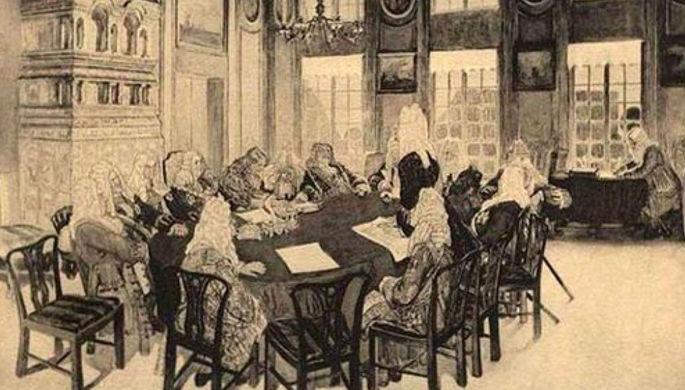 Заседание Сената при Петре I в Екатерингофском дворце