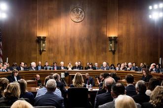Во время слушания показаний Кристин Блейзи Форд в сенате, Вашингтон, США, 27 сентября 2018 года
