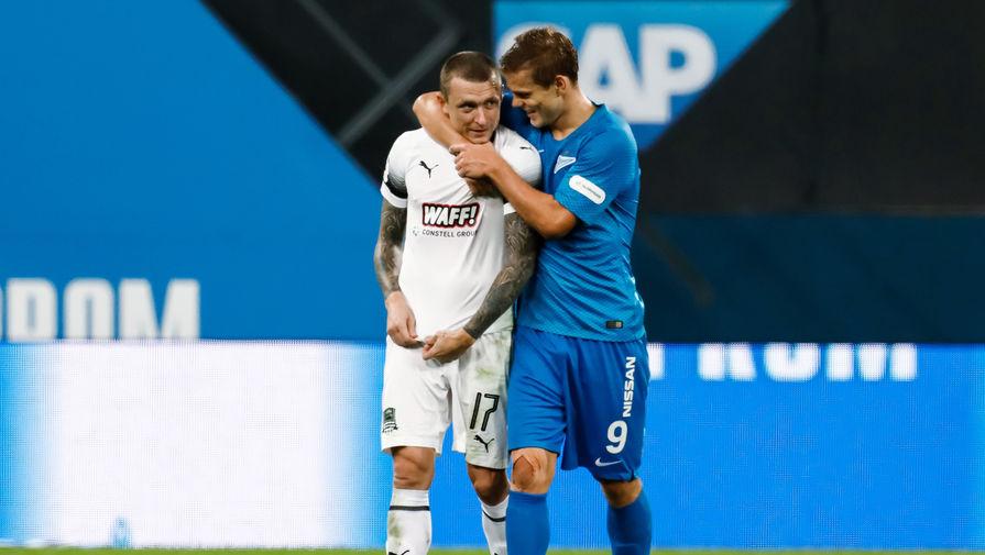 Нападающий «Зенита» Александр Кокорин и хавбек «Краснодара» Павел Мамаев