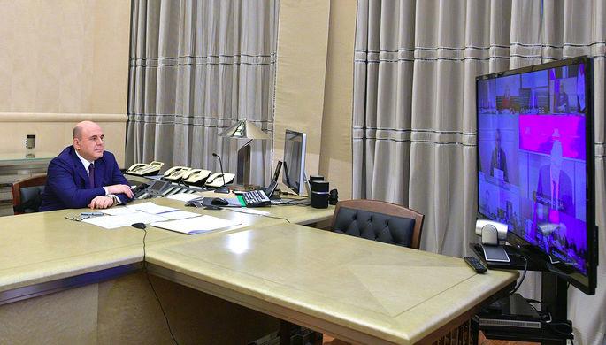 Председатель правительства России Михаил Мишустин во время совещания с руководством фракции «Единая Россия», 9 апреля 2020 года