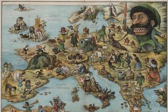 Итальянская сатирическая карта Европы 1870-х гг.
