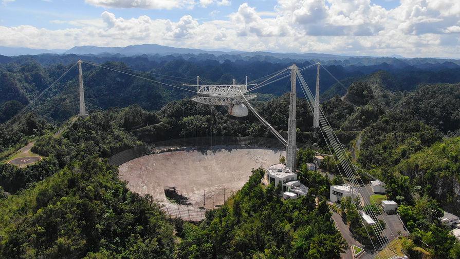 Вид на радиотелескоп «Аресибо», ноябрь 2020 год