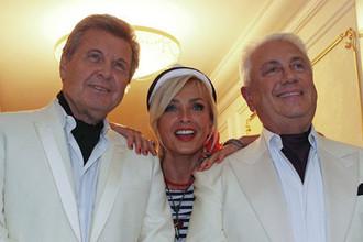 Лев Лещенко, Лайма Вайкуле и Владимир Винокур перед началом концерта Иосифа Кобзона в Кремле, 2012 год