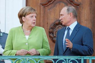 Встреча Владимира Путина и Ангелы Меркель в замке Мезеберг, 18 апреля 2018 года