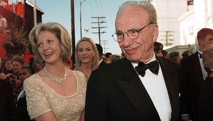 Руперт Мердок с бывшей женой Анной Мердок, 1998 год