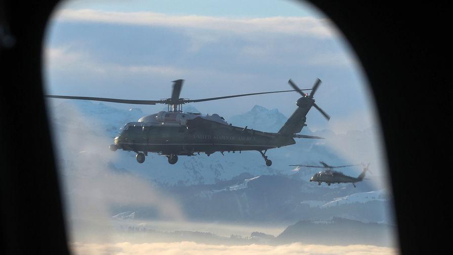 Вертолет с президентом США Дональдом Трампом на борту, Давос , 21 января 2020 года