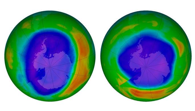 Озоновый слой над Антарктидой в сентябре 2000 года и сентябре 2018 года
