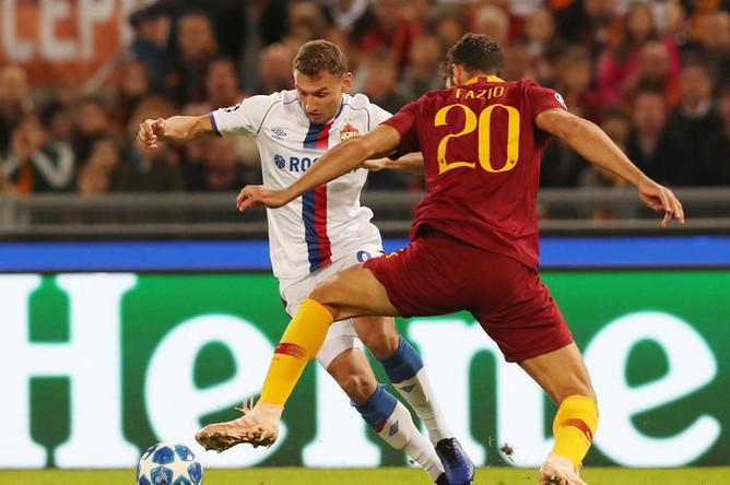 Во время матча группового этапа Лиги чемпионов УЕФА между ФК «Рома» и ПФК ЦСКА в Риме, 23 октября 2018 года