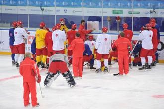 Сборная России проводит тренировку перед игрой с Канадой