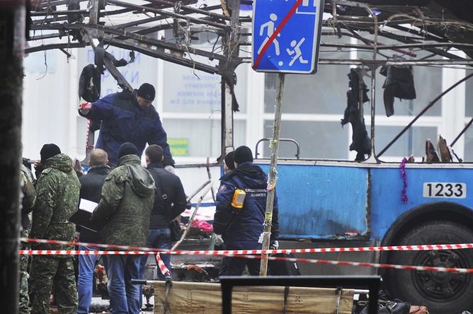 Ситуация на месте взрыва троллейбуса в Волгограде