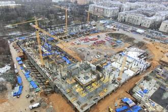 Строящийся стадион ЦСКА на 3-й Песчаной улице в Москве. Фото от 11 января 2014 года