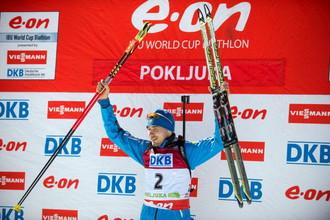 Антон Шипулин на подиуме этапа Кубка мира по биатлону в Поклюке