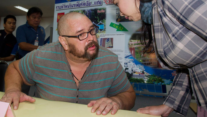 Россиянин Александр Матусов во время пресс-конференции в офисе иммиграционной службы в Бангкоке после задержания, 25 июня 2014 года