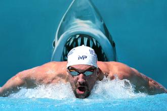 Обладатель 28 медалей Олимпийских игр Майкл Фелпс проиграл заплыв на сто метров акуле-людоеду