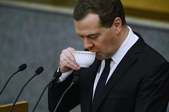 Председатель правительства России Дмитрий Медведев во время выступления в Госдуме, 2015 год