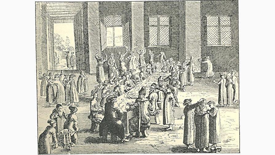 Русский пир. Гравюра из книги Адама Олеария. «Описание путешествия в Московию» (1647)