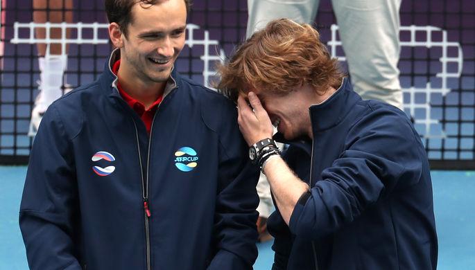 Российские теннисисты Даниил Медведев и Андрей Рублев на ATP Cup