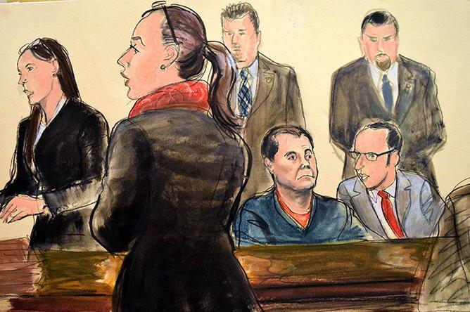 Наркобарон Хоакин «Эль Чапо» Гусман и его адвокат на заседании, традиционный рисунок из зала суда, 3 февраля 2017 года