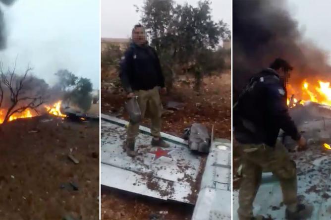 Скриншоты видео предположительно сбитого Су-25
