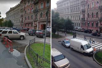Ситуация около генконсульства США на Фурштатской улице Санкт-Петербурга в октябре 2016 года и сентябре 2017 года, коллаж «Газеты.Ru»