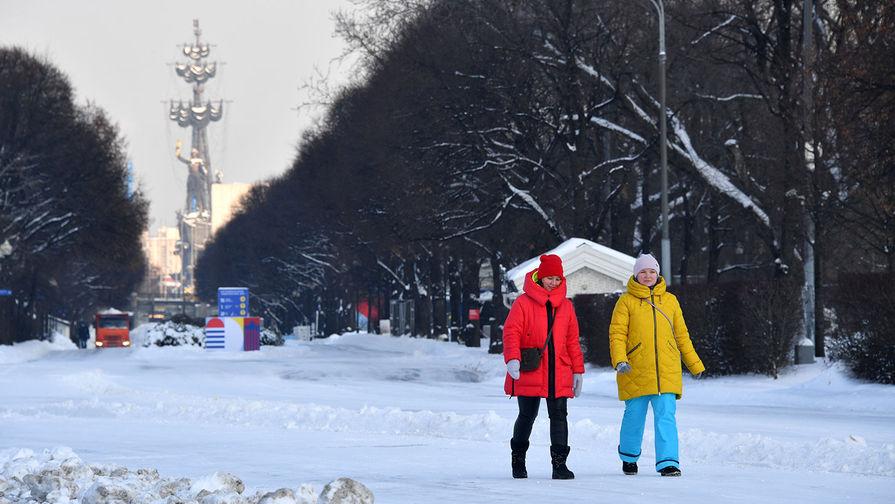 Прохожие в Центральном парке культуры и отдыха имени Горького в Москве, январь 2020 года