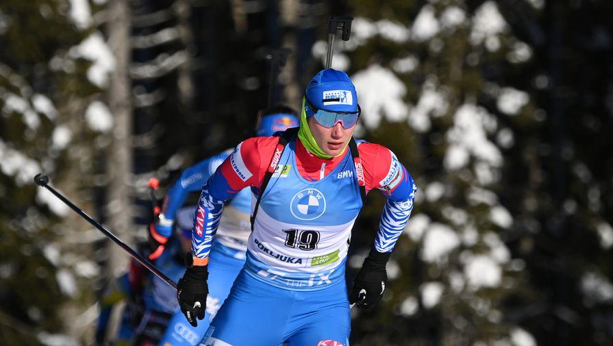 Ирина Казакевич на дистанции гонки преследования на 10 км среди женщин на чемпионате мира по биатлону в словенской Поклюке
