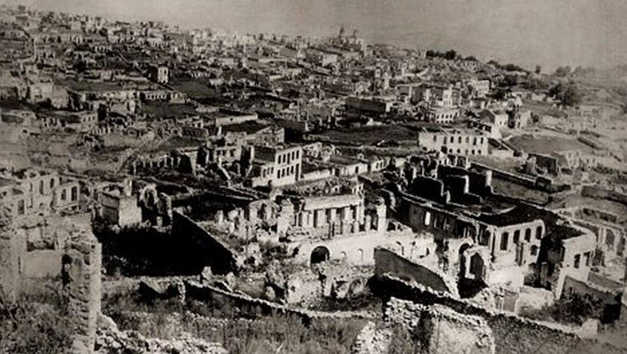 Руины армянского Шуши после резни 1920 года