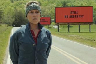 Кадр из фильма Мартина МакДона «Три биллборда на границе Эббинга, Миссури»