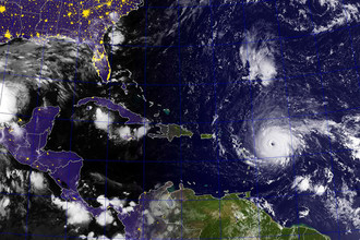 Ураган «Ирма», 5 сентября 2017 года. Спутниковый снимок.