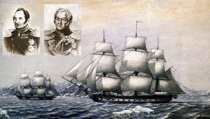 Шлюпы «Восток» и «Мирный» у берегов открытой ими Антарктиды в январе 1820 года и руководители экспедиции Фаддей Беллинсгаузен и Михаил Лазарев, коллаж