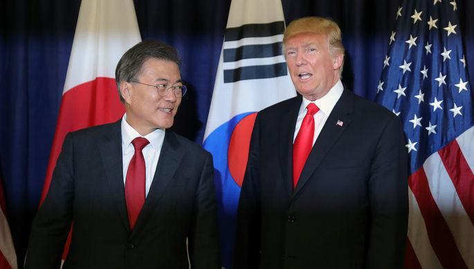 Президент Южной Кореи Мун Джэин и президент США Дональд Трамп на саммите G20 в Гамбурге, 2017 год
