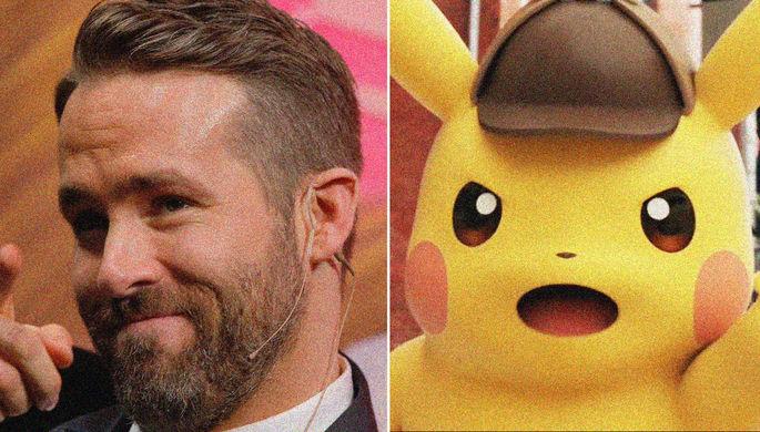 Актер Райан Рейнольдс и покемон из игры Great Detective Pikachu, коллаж «Газеты.Ru»