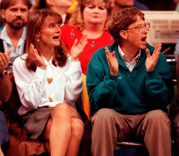 Мелинда Френч и Билл Гейтс на матче с участием «Сиэтл Суперсоникс», 1993 год