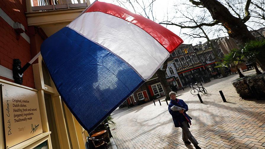 Флаг Нидерландов на одной из улиц города Делфт накануне парламентских выборов, 14 марта 2017 год