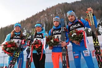 Миг триумфа сборной России: только что завоевано золото ЧМ в эстафете
