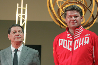 Президент Олимпийского комитета России (ОКР) Александр Жуков и спортивный комментатор Дмитрий Губерниев
