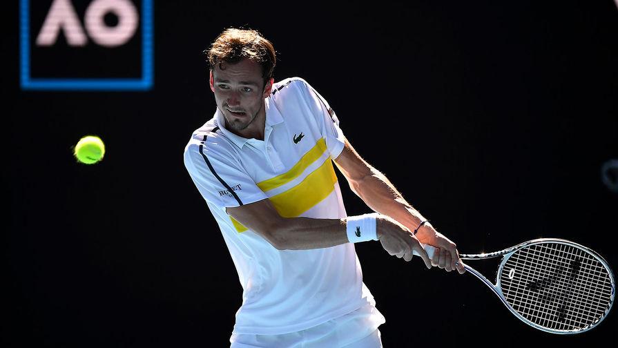 Даниил Медведев в четвертьфинальном матче Открытого чемпионата Австралии 2021 (Australian Open 2021) между Андреем Рублёвым (Россия) и Даниилом Медведевым (Россия), 17 февраля 2021 года